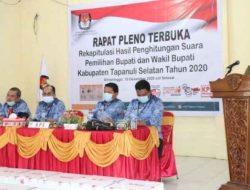 KPU Rapat Pleno Rekapitulasi Suara Pilkada Tapsel 2020