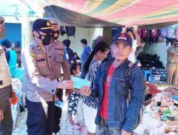 Polres Tapsel Gelar Operasi Yustisi dan Bagi Masker di Pekan Simarpinggan